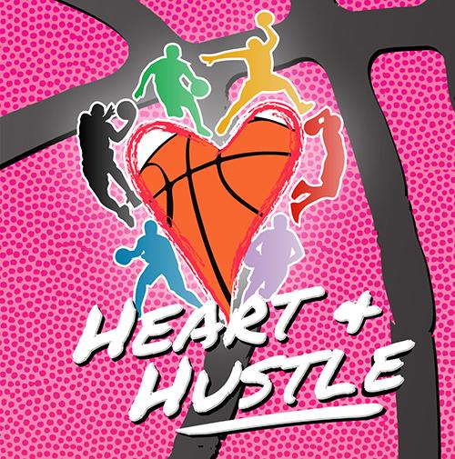 heart and hustle basketball tournament logo