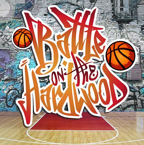 battle on the hardwood basketball tournament logo