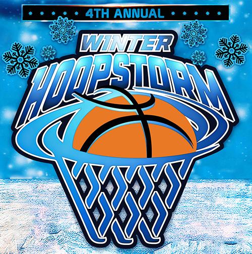 winter hoopstorm basketball tournament logo