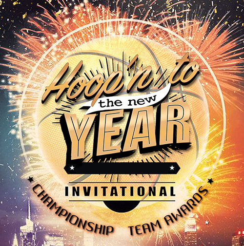 hoop 'n to the new year basketball tournament logo