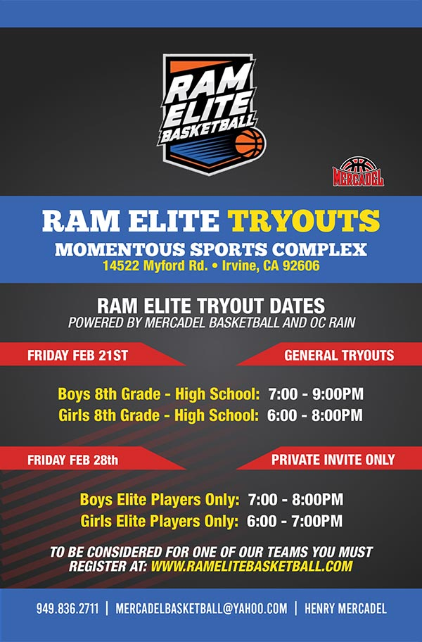 ram elite basketball tryouts flyer